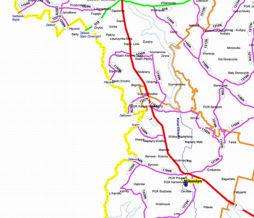 Mapa Drogowa Powiatu Ostrodzkiego